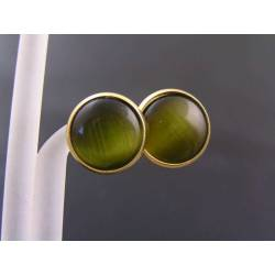 Green Cat's Eye Stud Earrings