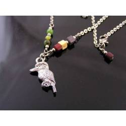Australian Gemstone and Kookaburra Charm Necklace