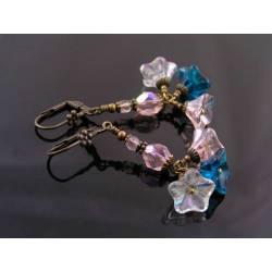 Czech Flower Bead Earrings in Purple and Peach