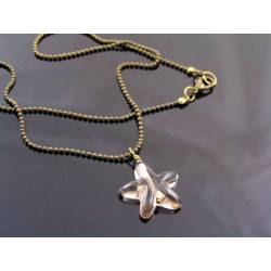 Carved Smokey Quartz Star Necklace