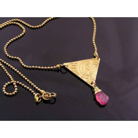 Pink Sapphire Geometric Necklace