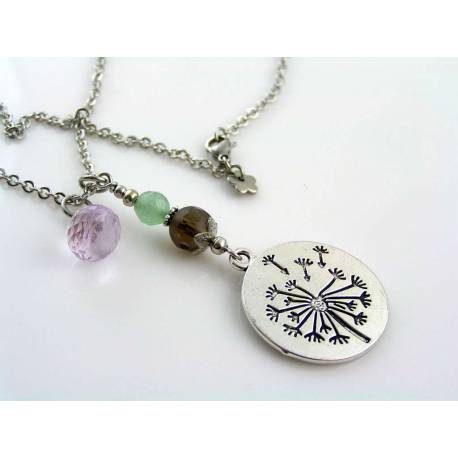Dandelion Necklace with Gemstones