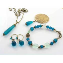 Teal Blue Sea Glass Set, Bracelet, Brooch, Necklace and Earrings