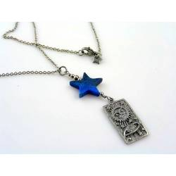 Planetary System - Carved Lapis Lazuli Star Necklace
