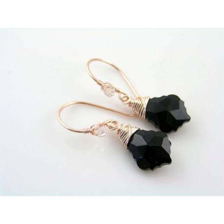 Baroque Black Crystal Rose Gold Earrings