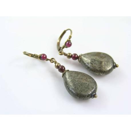 Pyrite and Garnet Earrings