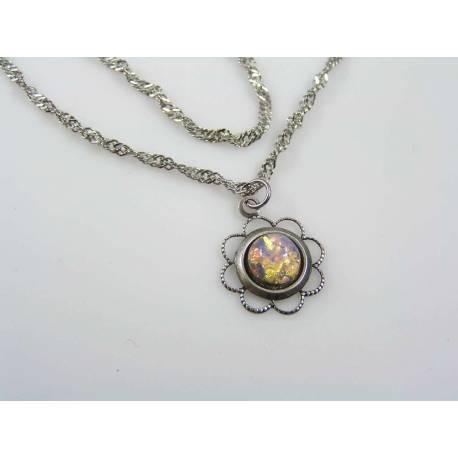 Vintage Glass Opal Flower Necklace