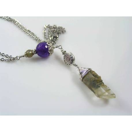 Natural Green Moss Crystal Wand Necklace with Amethyst and Labradorite, Healing Necklace, Crystal Jewelry