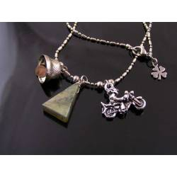 Motorcycle Rider Necklace with Labradorite and Gremlin Bell