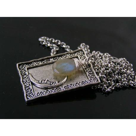 Purple Labradorite and Moon Charm Necklace