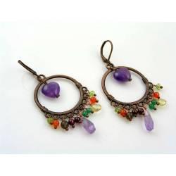 Amethyst Heart and Gemstone Chandelier Earrings