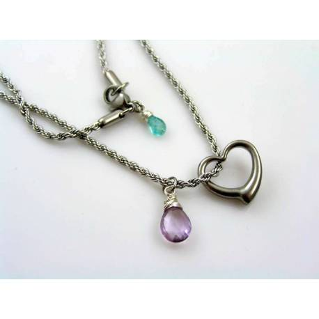 Swinging Heart and Amethyst Necklace, Birthstone