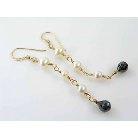 Black Cubic Zirconia and White Pearl Earrings