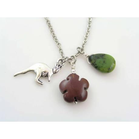 Australian Charm Necklace with Kangaroo, Mookaite and Chrysoprase