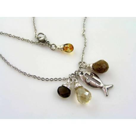 Smokey Quartz, Coffee Quartz and Crystal Ichthus Necklace