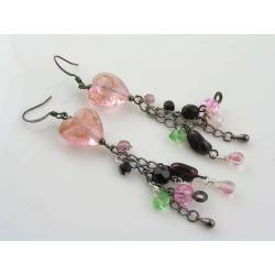 Lampwork Tassel Earrings, Dramatic Heart Earrings