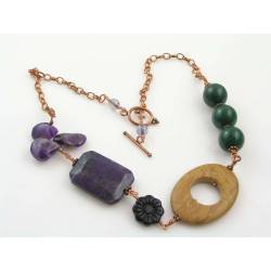 Bohemian Necklace with Amethyst, Sugilite, Onyx and Jasper