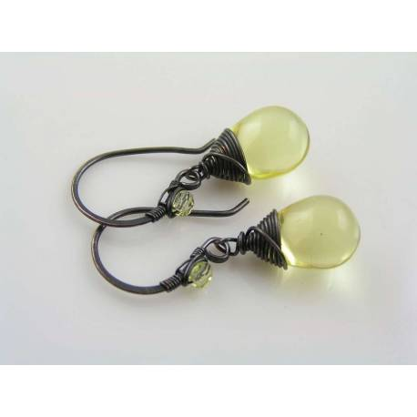 Smooth Lemon Czech Glass Teardrop Earrings