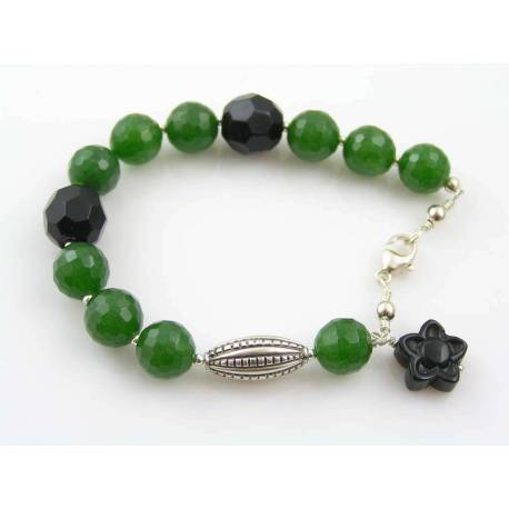 Canada Green Jade and Onyx Bracelet