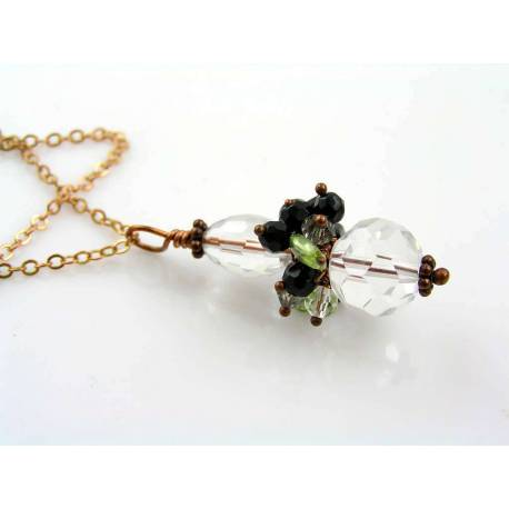 Rock Quartz, Onyx and Peridot Pendant Necklace