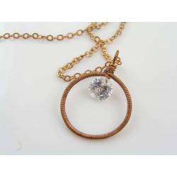 Wire Wrapped Frame Pendant with 2ct Cubic Zirconia, Necklace