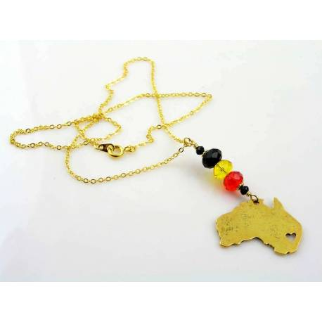 Aboriginal Flag Colours and Australia Map Necklace