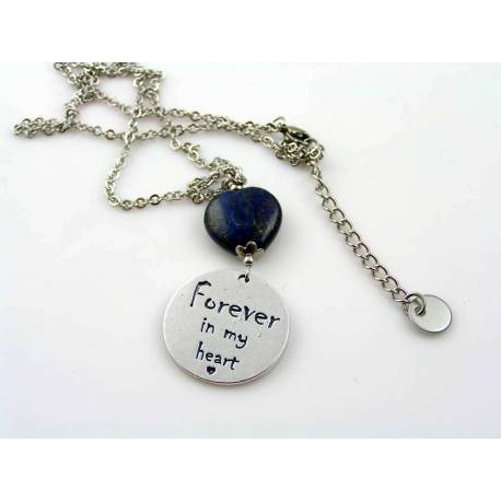 "Personalised Necklace with Lapis Lazuli Heart, ""Forever in my heart"""
