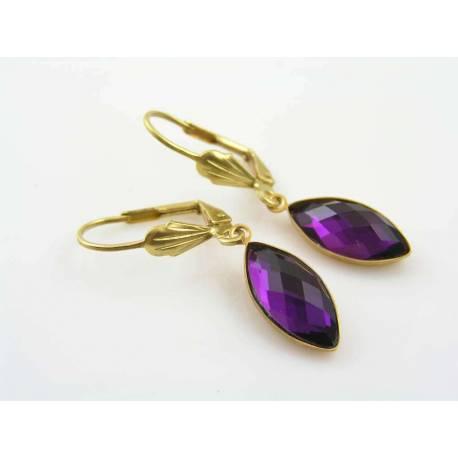 Purple Glass Gem Earrings
