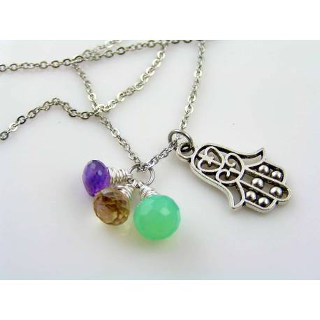 Hamsa Charm Necklace with Amethyst, Opal Chalcedony and Quartz