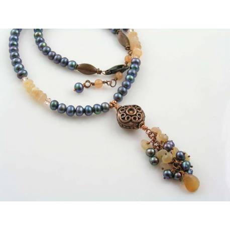 Pearl, Moonstone and Crystal Necklace