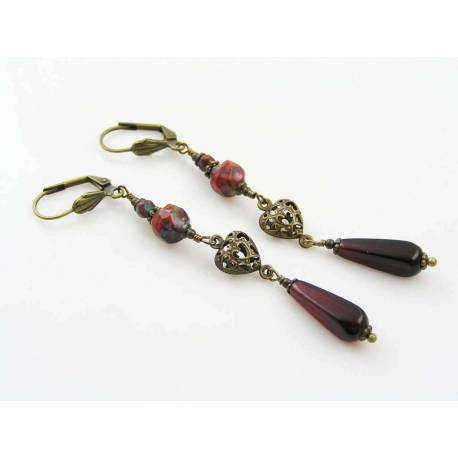 Long Red Earrings, Czech Glass Beads