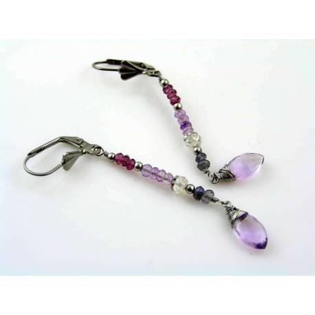 Jeanie's Earrings, Garnet Rose Quartz Amethyst Iolite