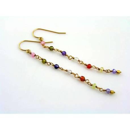 Confetti Earrings - Cubic Zirconia, 14K goldfilled