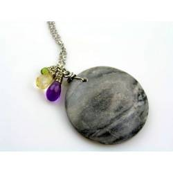 Large Marble Pendant Necklace with Amethyst, Citrine and Peridot
