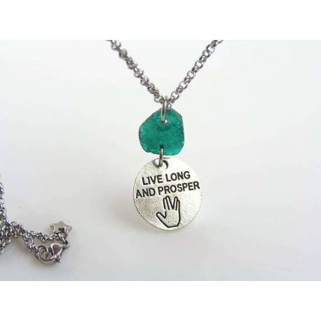 'Live long and prosper' - Startrek Quote Necklace with Ancient Glass Piece