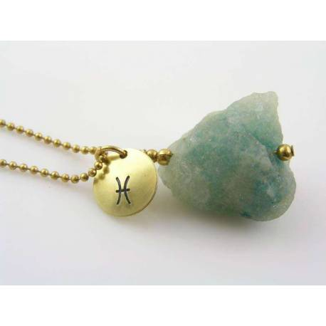 Aquamarine Birthstone Necklace, Pisces Astrological Star Sign Charm