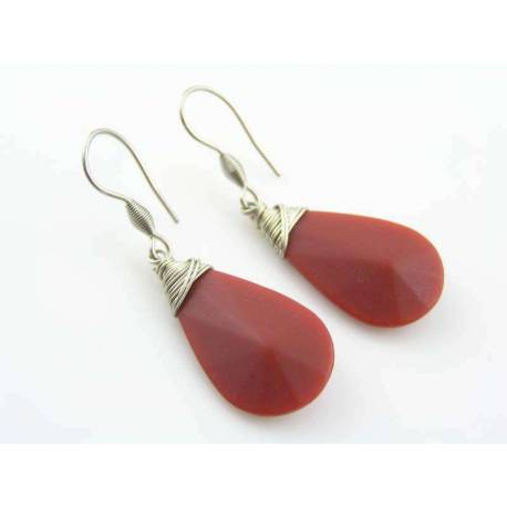 Burgundy Red Earrings, Wire Wrapped