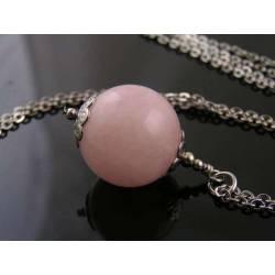 Large Rose Quartz Sphere Necklace, Long