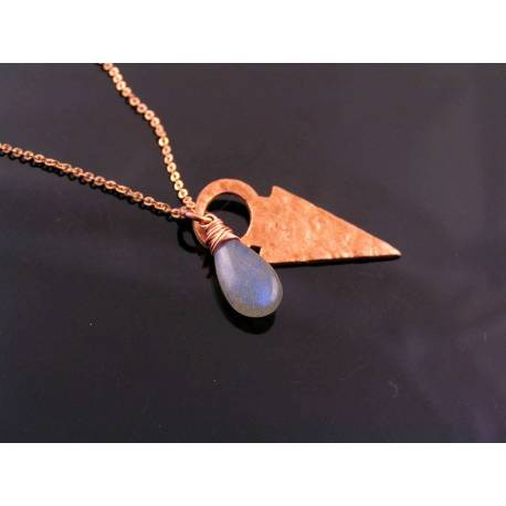 Solid Copper Arrow Necklace with Blue Labradorite and Sodalite