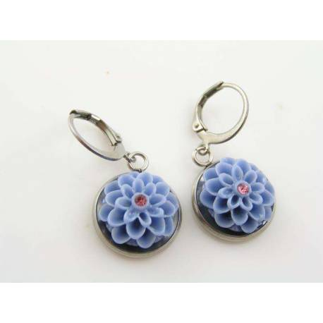 Crystal Set Blue Flower Earrings