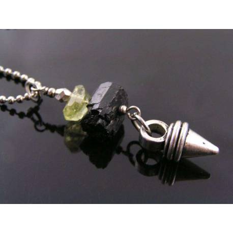 Black Tourmaline and Lemon Quartz Necklace