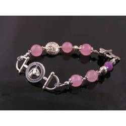 Horse Bracelet with Pink Jade