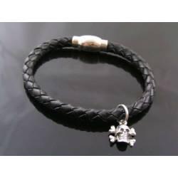 Black Leather Bracelet with Skull Charm