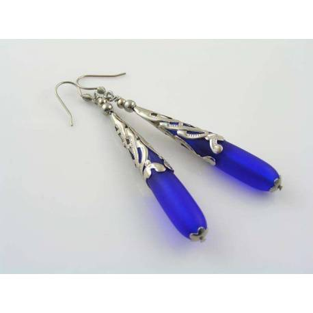 Royal Blue Sea Glass Earrings, other colours available