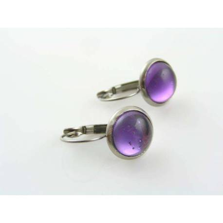 Purple Cabochon Earrings, Hypoallergenic Stainless Steel