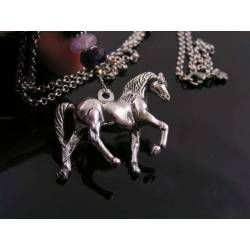 Solid, Free Standing Horse Necklace with Amethyst and Labradorite