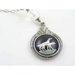 Necklace with Art Deco Pendant, Pointer Dogs