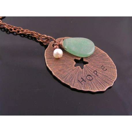 Hope Necklace with Green Aventurine and Pearl Charm