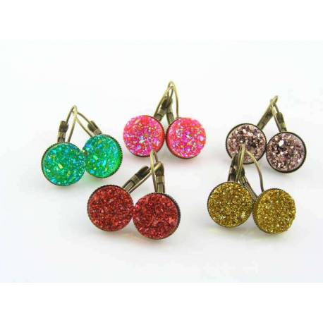 Sparkling Acrylic Druzy Earrings, Choose your Colour