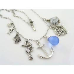 Ocean Themed Necklace with Compass, Anchor, Seahorse and Fish
